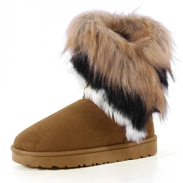 Women Snow Boots Plus Size Faux Fur Winter Ankle Boots Sewing Flats Female Comfort Footwear Platform Shoes Drop Shipping