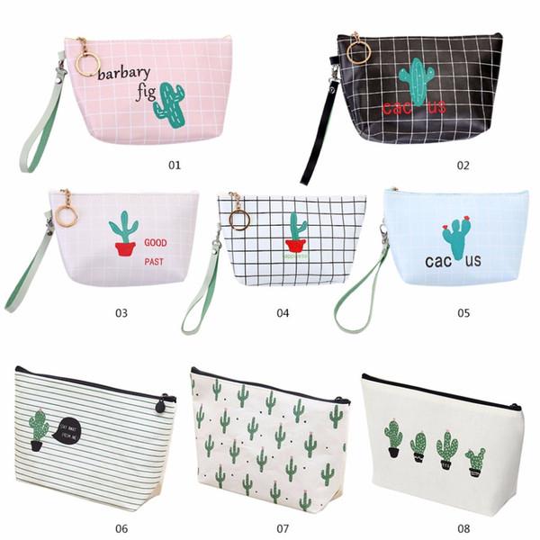 Fashion New 23cm PU Cactus Makeup Cosmetic Case Wristlet Pen Bag Zipper Coin Pouch Purse Gift