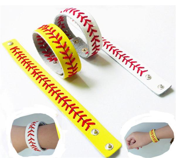 11 Farben neuestes Baseball-Leder-Softball-Gelb-Armband-Schmucksachen-Softball-Armband mit dem roten Nähen und Schnellverschluss Freies Verschiffen