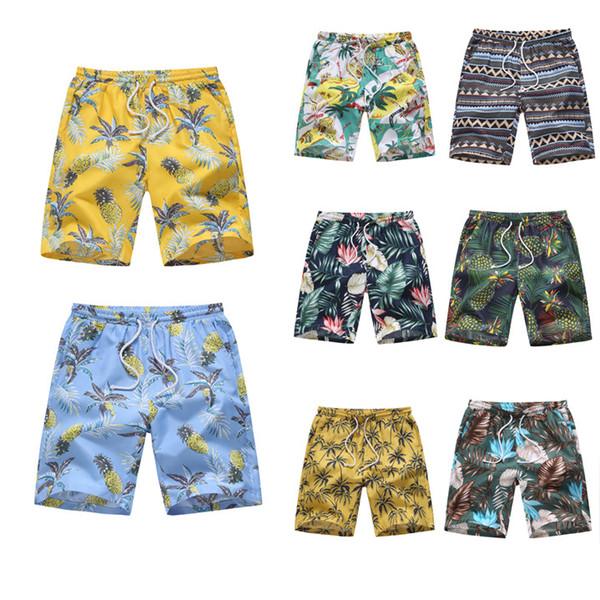 Swim Shorts Homens Havaí Estilo Praia Multi Tipo Floral Imprimir Cintura Elástica Tamanho Grande Respirável Novo Verão calças Casuais