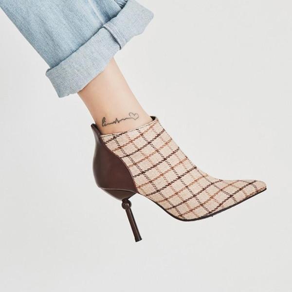 Carregadores do outono faux curto pelúcia juventude estilo escocês pontas apontou sapatos de salto alto 9cm mulher faux camurça botas de Slim fina Salto