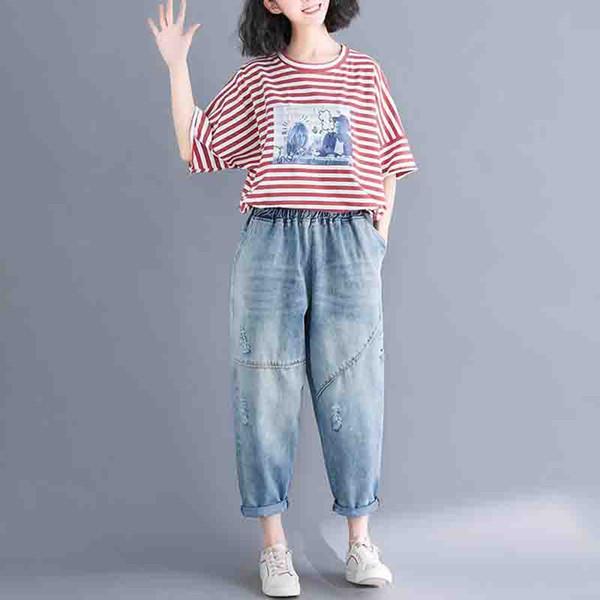 2019 Fashion New Do the old Hole Jeans Frühling Sommer Koreanisch Lose Plus size Denim Hosen Elastische Taille Vintage Neun Punkte Jeans