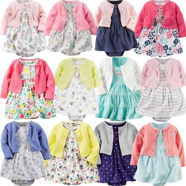Baby Girl Bodysuit Dress Cute Soft Cotton Long-sleeved Cardigan +short Sleeve Dress 2 Pieces Infant Toddler Girls Clothes Set MX190719