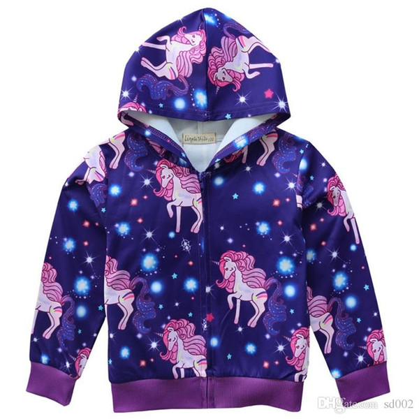 Belle Licorne Sweats À Capuche Manches Longues Col Rond Pourpre Couleur Zipper Manteau Bébé Fille Printemps Maison Vêtements 24 5bk E1
