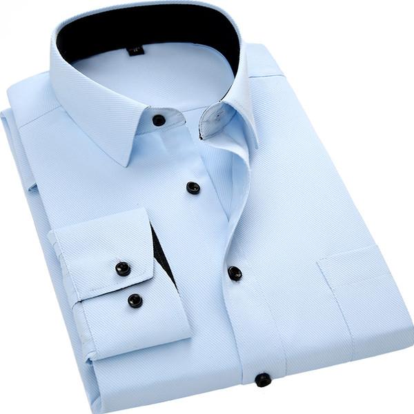 Мужская рубашка с длинными рукавами Slim Fit Style Design сплошной цвет бизнес повседневная рубашка мужской социальный бренд мужской одежды 2019 новый
