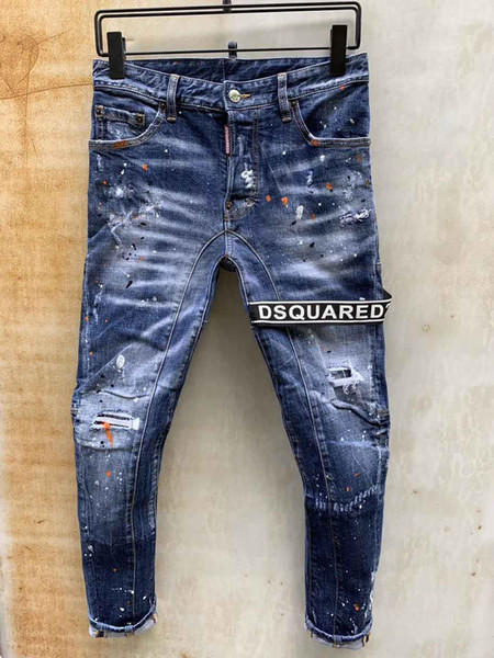 D2 Designer Hommes Jeans la marque Tide haute qualité Jeans personnalité Holes Lettre ruban Blanchi Street Wear grande taille Jeans Nouvelle ArrivéeAccueil