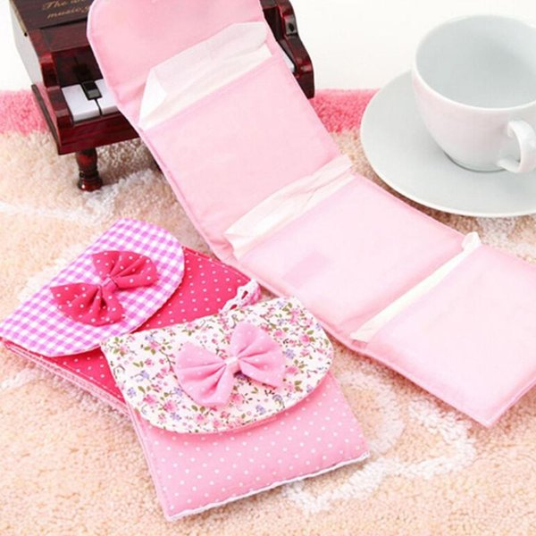 Cloth Menstrual Pads Menstrual Bowknot Cotton Sanitary Towel Napkin Pad Purse Holder Easy Bag Organizer Random Color