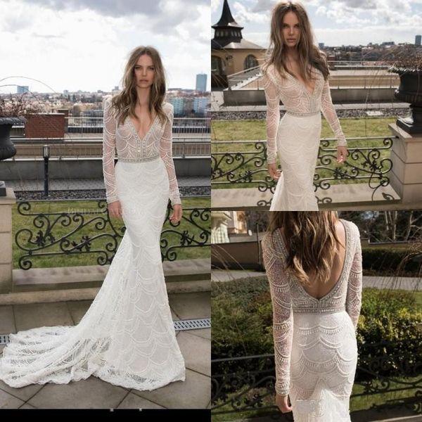 Sexy Berta Bridal Gowns Deep V Neck 2018 Mermaid Wedding Dresses Long Sleeve Full Lace Crystal Backless Vestido De Noiva Robe De Mariee
