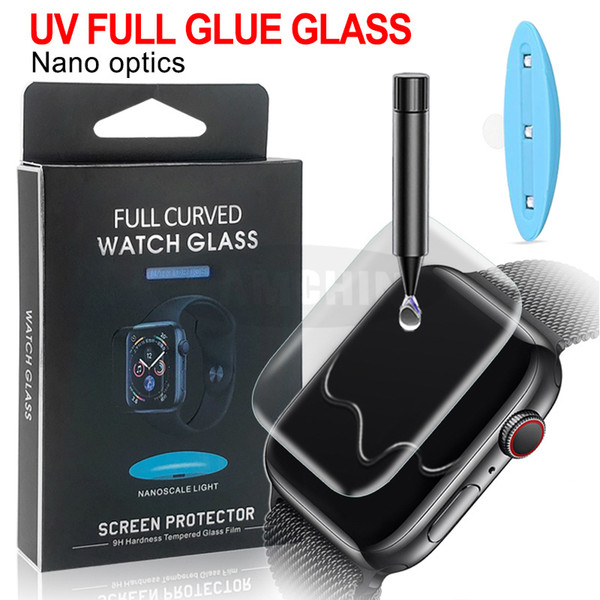Полное тело Protect Touch Nano Жидкий клей Закаленное стекло для Apple Watch Series 1 2 3 4 iwatch 38мм 42мм 40мм 44мм