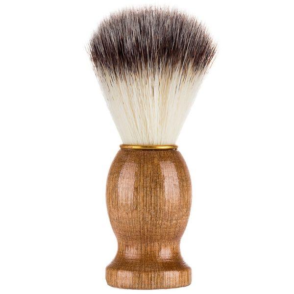 Brocha de afeitar para hombres, pelo de tejón, mango de madera, salón de peluquería, herramienta de afeitado para limpieza de barba facial para hombres HHA640