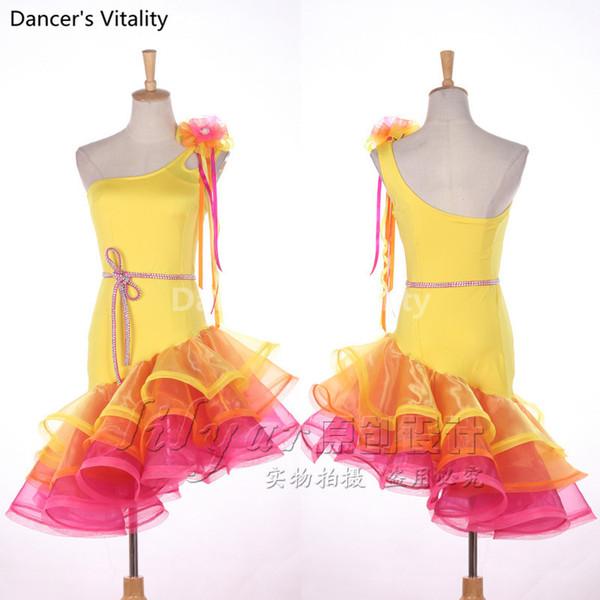 Abito da ballo latino Abito da ballo giallo giallo su misura Tango Rumba Samba Cha-cha da donna di alta qualità