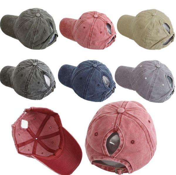 top popular Washed Ponytail Baseball Cap Vintage Profile Adjustable Unisex Classic Plain Sport Hat Outdoor Summer Dad Snapback Hat TTA975 2019