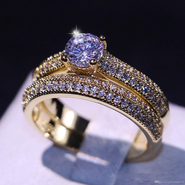 Wholesale Porfessional Handmade Luxury Jewelry 925 Sterling Silver&Gold Filled 5A Cubic Zirconia CZ Diamond Office Bridal Ring Set Gift