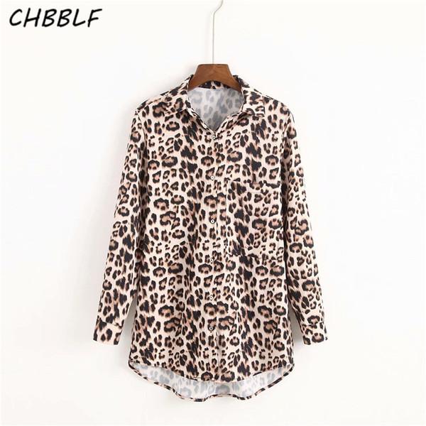 764ebeae499f CHBBLF women chic leopard print blouse pocket long sleeve turn down collar shirts  female casual wear