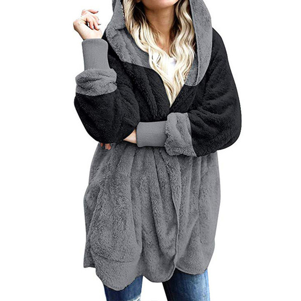Designer Panelled Womens Faux Fur Fashion Solid Ladies With Hat Coat Donna Casual Long Sleeve Clothes