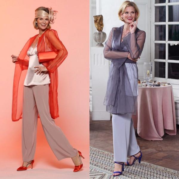 Üç Adet Pantolon Suit Anne Ceket Ile Gelin Elbiseler Şifon Abiye giyim Artı Boyutu Düğün Konuk Elbiseleri