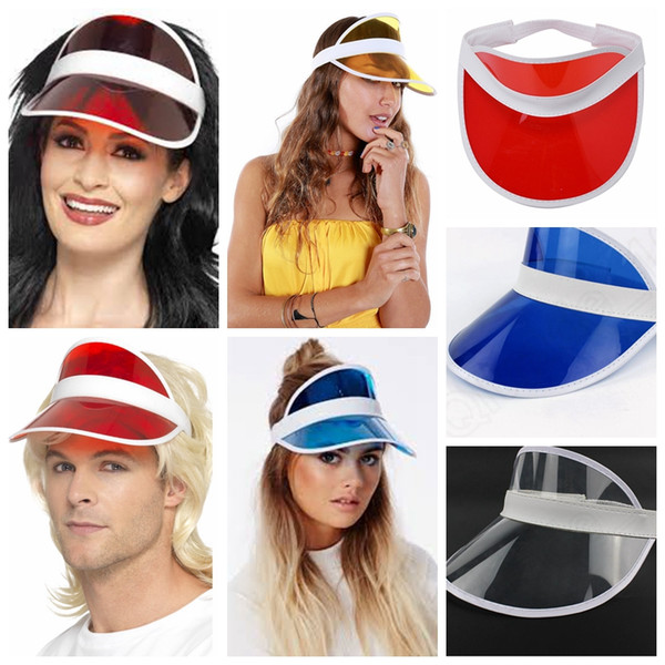 best selling sun visor sunvisor party hat clear plastic cap transparent pvc sun hats sunscreen hat Tennis Beach elastic hats 50pcs cny284