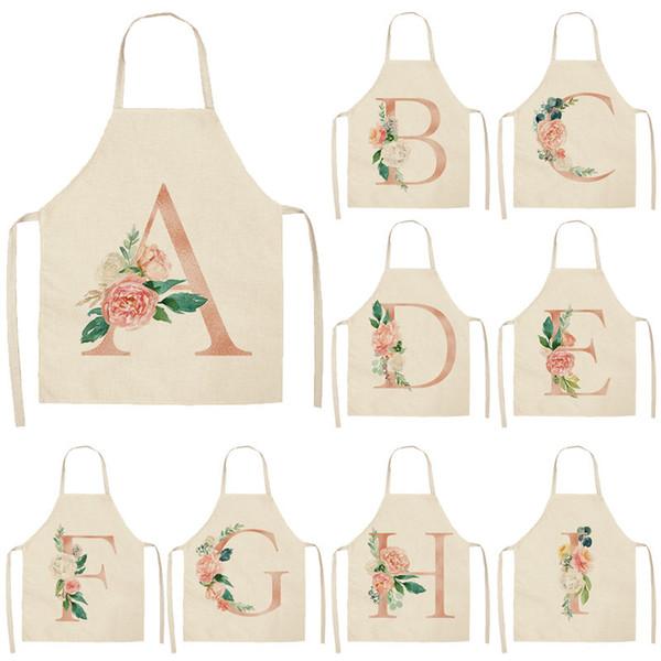 Pink Letter Flower Delantales de cocina para mujer Baberos de lino de algodón Delantal de limpieza del hogar Delantal de cocina casera 53 * 65 cm