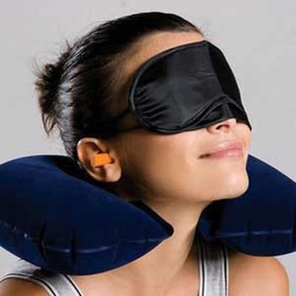 All'ingrosso 3 in 1 Set da viaggio Gonfiabile Cuscino a forma di U Cuscino d'aria + Dormire Maschera per gli occhi Eyeshade + Tappi per le orecchie Auto Morbido cuscino BC BH0660