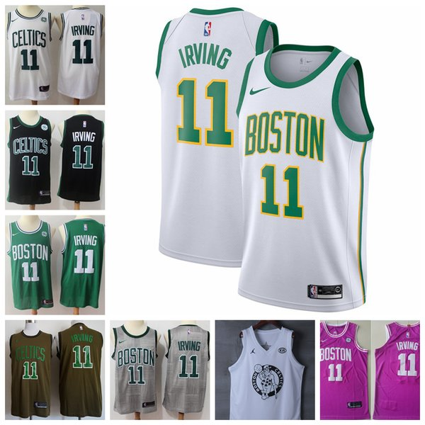 buy popular 81292 6d077 2018 2019 New Mens 11 Kyrie Irving Boston Celtics Basketball Jerseys  Stitched 2018 Celtics Kyrie Irving City Edition White Basketball Jerseys  From ...