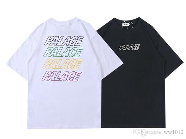 PALAC 19SS Freizeit Farbe Buchstaben Männer und Frauen Einfache Mode Kurzarm T-Shirt Kostenloser Transport