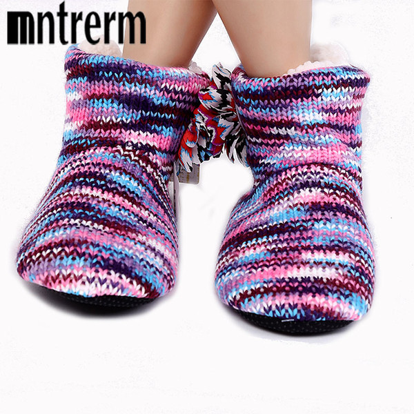 Mntrerm New Warm Soft Sole Woman Indoor Floor Slippers For Women Shoes Crochet Flowers Home Slippers Shoes chinelo Winter