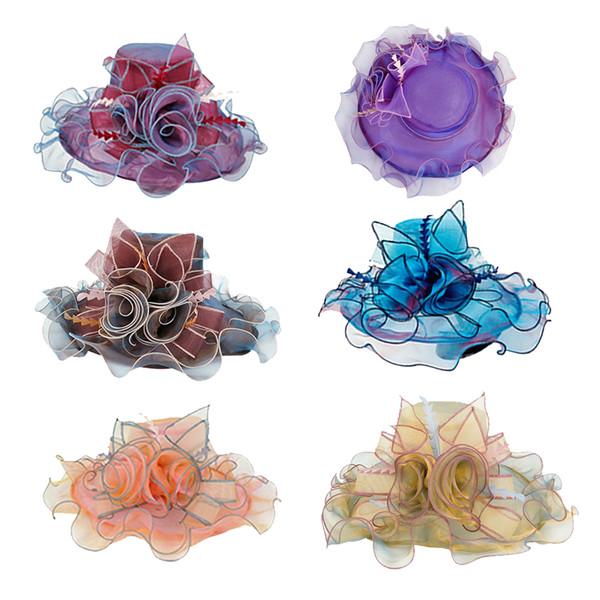 Été Élégant Fleur Soleil Chapeaux Femmes Floral Vintage Large Grand Bord Mariage Naturel Dame Chapeau De Fête 6 Couleurs 2019