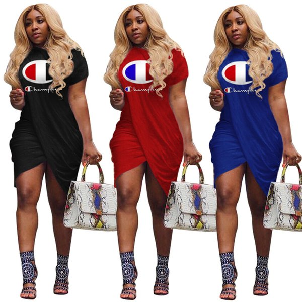 top popular Women Dresses Champions Letter Print 2019 Summer Fashion Solid Short Sleeve Knee-Length Skirt Sport Casual Women Clothes S-XL A413003 2019