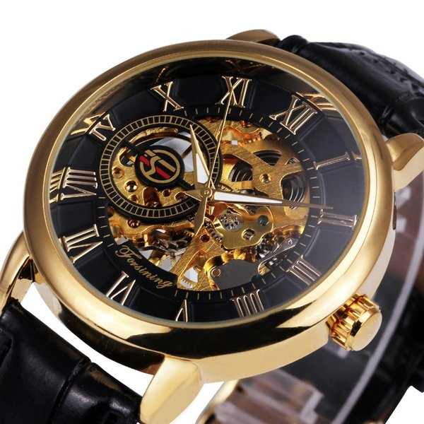 12mm thickness spiral crown pin buckle stainless steel mechanical manual mechanical watch elegant luxury leather men's watch