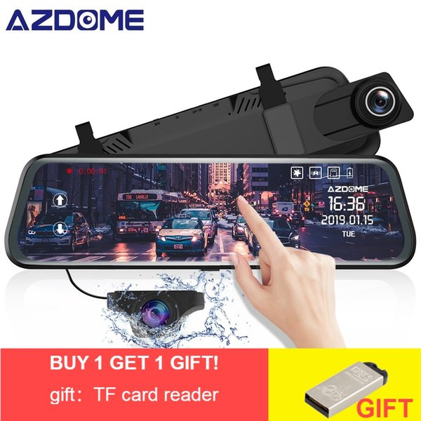 "AZDOME PG02 Car Dvr camera 10"" Full HD 1080P rear view mirror camera Stream Media Full-Screen Touch dashcam Video Recorder"