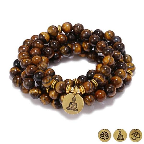 Trasporto di goccia squisito 8mm 108 naturale occhio di tigre pietra perline braccialetto o collana yoga loto rame ciondolo uomini donne gioielli
