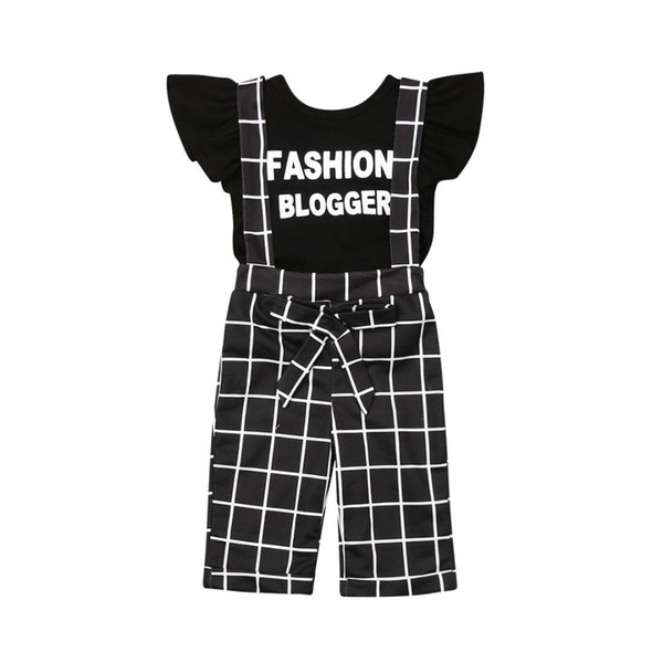 2PCS Toddler Baby Girls Clothes Sets Letter Print T-shirt Tops+Plaid Pants Overalls Outfits Clothes 1-6Y