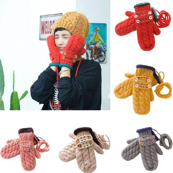 1 Paire Femmes Hiver Gants Tricotés Corde Mitaines Filles Bouton Gants À Tricoter En Plein Air Equitation Réchauffeur À La Main