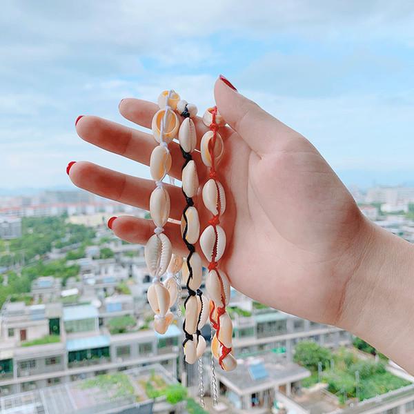 Collane girocollo conchiglia girocollo conchiglia naturale con catena in corda nera naturale con catena in corda per regali estivi da spiaggia