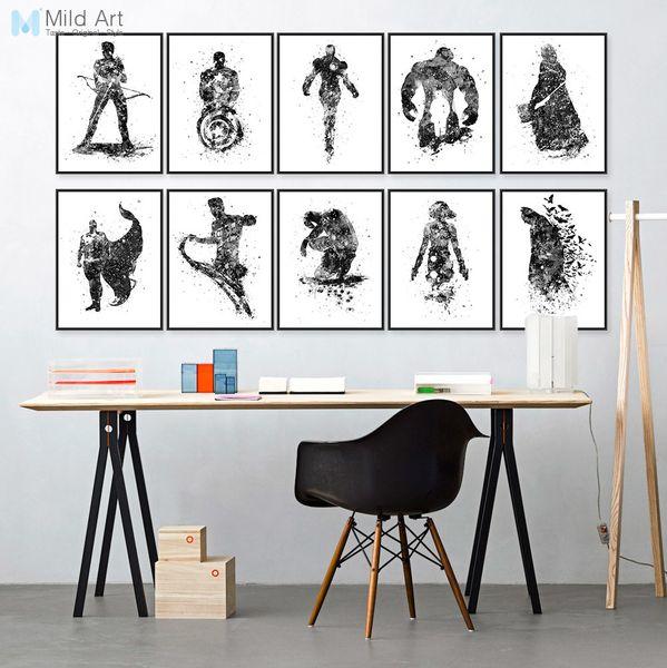 ovie poster print Watercolor Superhero Avengers Infinity War Batman Pop Movie Posters Print Wall Art Picture Kids Room Home Decor Canvas ...