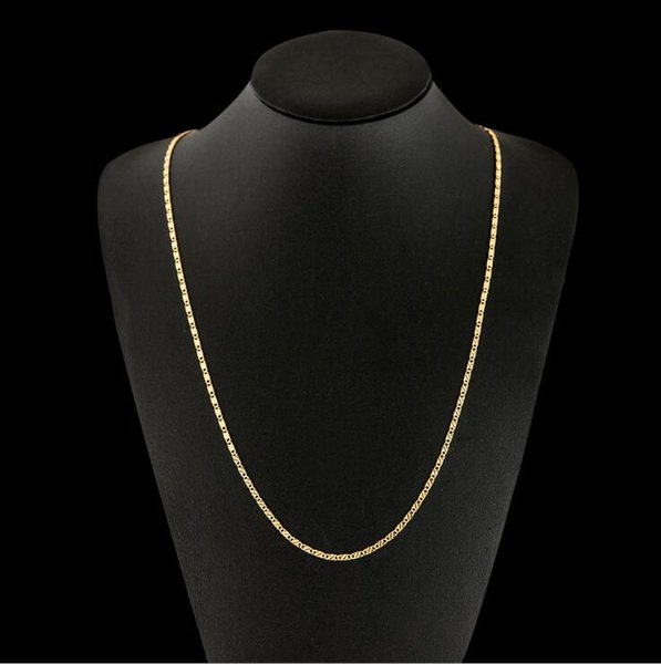 2mm Thin Chain Necklace 40-75cm 16-30inch for Women Men 925/18 k Gold Color Hot Sale Embroidery Jewelry Lead and Nickel Free