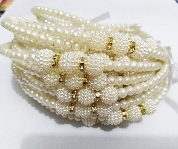 Nueva moda Niñas Perla Diadema Elegante Boda Cumpleaños Bandas para el cabello Niños Accesorios para el cabello Ropa para la cabeza para niñas