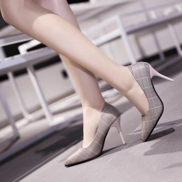 2019 Dress Women Pumps 2018 Spring and autumn thick with pointed high heels, thick with new women's shoes, shallow mouth shoes
