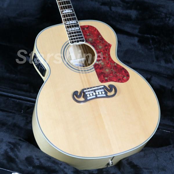 JEAN6030 Guitare acoustique électrique 6 cordes J200C en épicéa massif avec accordeur supérieur