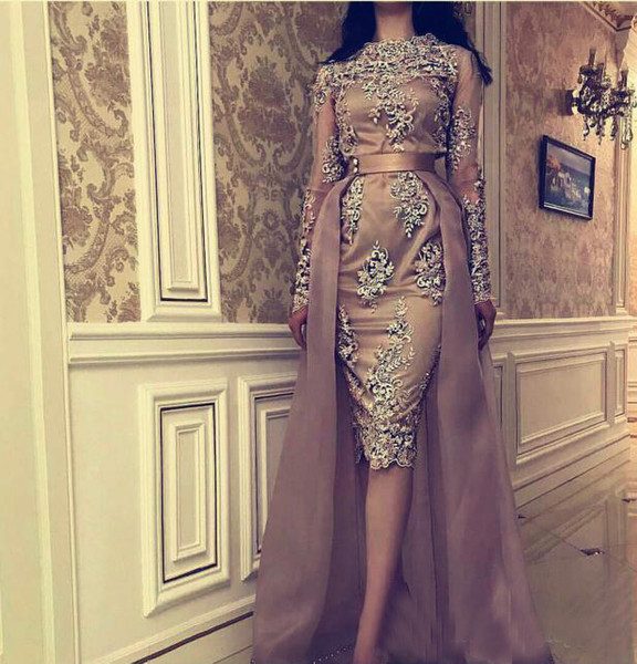 2019 Gorgeous Kim kardashian Sheath Prom Dresses Tea Length With Detachable Overskirt Sheer Long Sleeves Lace Beaded Evening Dress Cheap