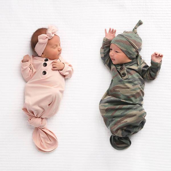 best selling 15057 Europe Baby Infant Sleeping Bag Kids Camouflage Sleeping Bags Blanket Child Cotton Pajamas Nightclothes Headband Hat