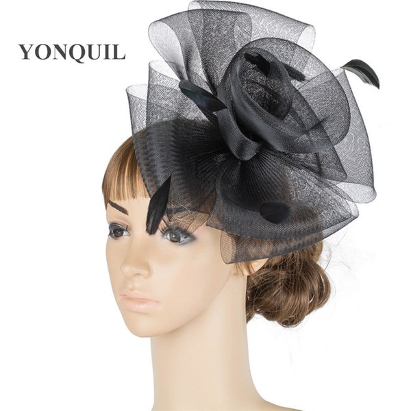 i bianchi cappelli di fascinator della piuma di colore cappelli nuziali di buona qualità buona per il matrimonio, 6pcs partito / lot di trasporto di vendita calda MYQ076