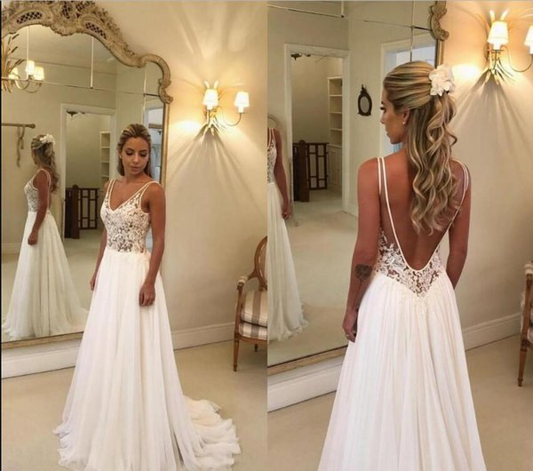 Discount 2019 Cheap Beach Wedding Dresses Lace Appliqued V Neck A Line Sexy Backless Boho Wedding Dresses Sweep Train Custom Garden Bridal Gowns