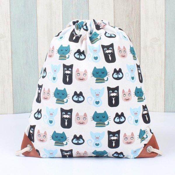 Cute Animal Print Cat Cute Backpack Drawstring Canvas School Student Bag Backpacks Pockets Rucksack Sports Bags For Women Girl