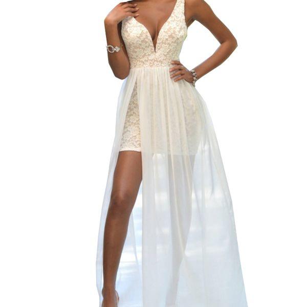 Detachable Skirt vestido de noiva Elegant Lace V Neck Evening Dress Sexy Simple Lace Short Prom Dresses mother of the bride dresses