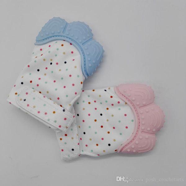 Qualité alimentaire silicone anneau de dentition gant de bébé lavable gants de dentition pour cadeau de douche de bébé soulagement de la douleur de gomme sucre enveloppant son bébé jouets de dentition