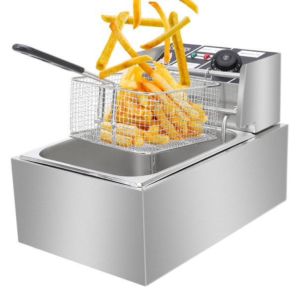 top popular EH81 2500W MAX 110V 6.3QT 6L Stainless Steel Single Cylinder Electric Fryer French fries machine US Plug 2021