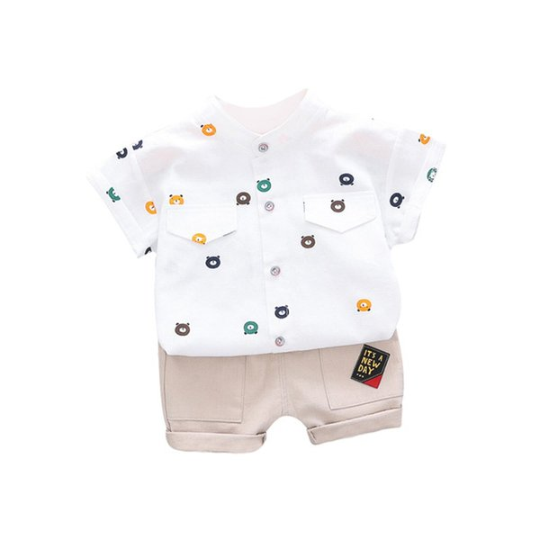 Children Baby Summer Colothing Sets Baby Boys Short Sleeve Cartoon Bear Print Tops Blouse Shirts+Shorts Casual Outfits Sets new