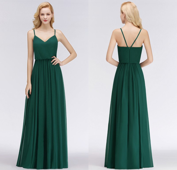 Real Pictures 2018 New Designer Emerald Green Long Bridesmaid Dresses Spaghetti Straps Floor Length Custom Made Wedding Party Gowns BM0032