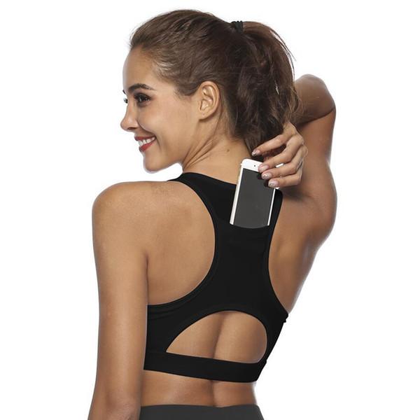Mulheres sutiã esportivo de volta telefone bolso racaceback sem fio à prova de choque yoga ginásio sutiã ys-BUY